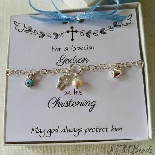 Children Charm Bracelet Sterling Silver Christening Baptism Keepsake Gift For Boys Girls