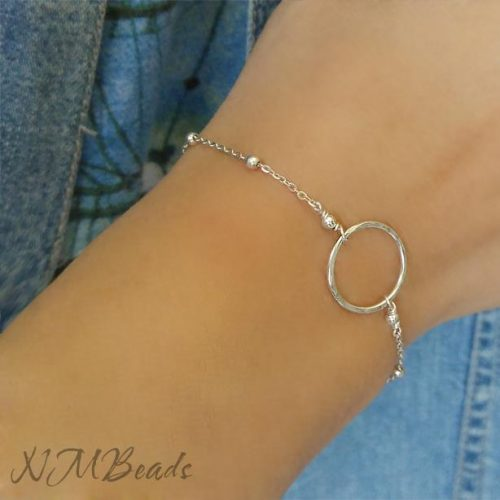 Delicate Circle Bracelet With Satellite Chain Sterling Silver