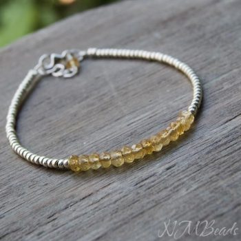 Delicate Citrine Beaded Bracelet With Silver Beads Skinny Simple Jewelry