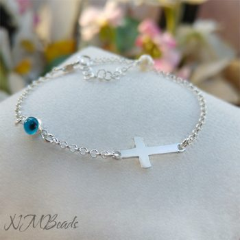 Cross Bracelet With Evil Eye Sterling Silver Christening Gift For Girls Boys
