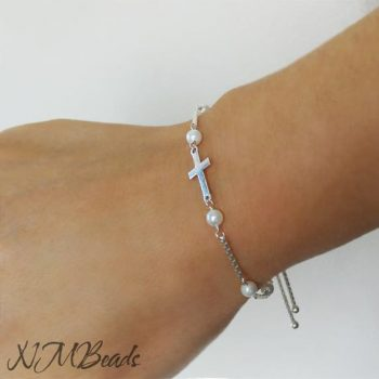 Cross Bracelet With Pearl Sterling Silver Adjustable Beaded Chain