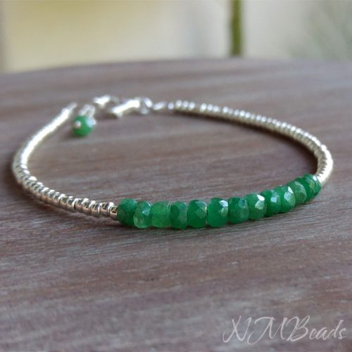 Delicate Emerald Beaded Bracelet With Silver Beads Skinny