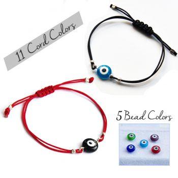 Simple Evil Eye String Bracelet Sterling Silver Choose Color Adjustable