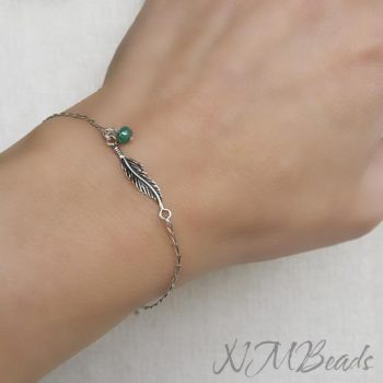 Feather Bracelet Sterling Silver Italian Curb Chain Delicate