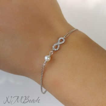 CZ Pave Infinity Bracelet With Pearl Anniversary Gift