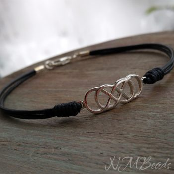 Mens Celtic Double Infinity Knot Bracelet Sterling Silver