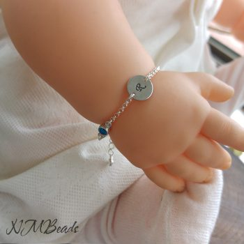 Children Personalized Initial Bracelet With Evil Eye Sterling Silver