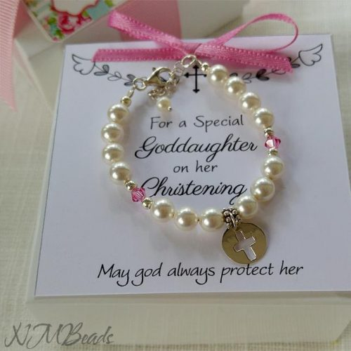 Christening Gift For Girls Toddler Goddaughter Infant Baptism Gift Keepsake Pearl Bracelet