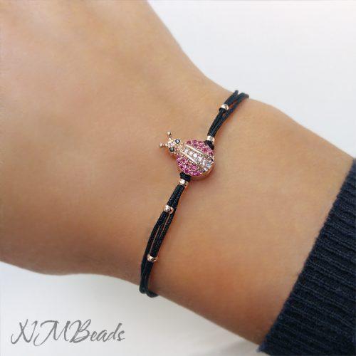 Rose Gold CZ Pave Ladybug Bracelet Black String Cord