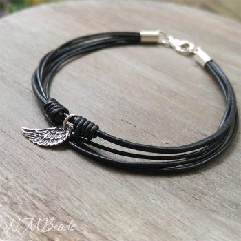 Black Leather Bracelet With Angel Wing Sterling Silver Guardian Angel