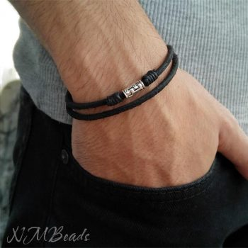 Mens Black Leather Bracelet With Sterling Silver Tube Double Wrap