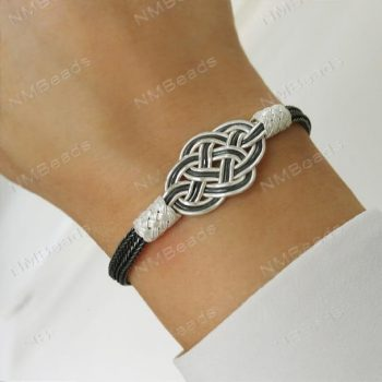 Fine Silver Celtic Double Love Knot Bangle Bracelet