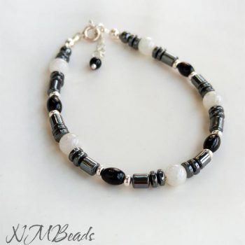 Hematite Beaded Bracelet With Onyx Moonstone Sterling Silver