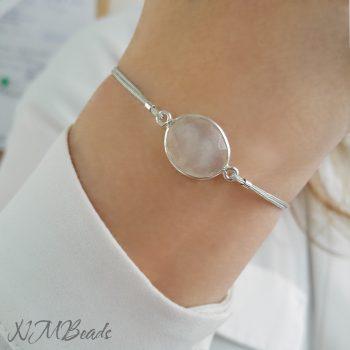 Simple Moonstone String Bracelet Sterling Silver
