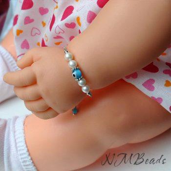 Children Pearl Bar Bracelet With Blue Evil Eye Sterling Silver