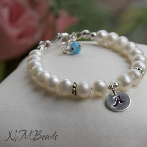 Children Personalized Pearl Bracelet Stamped Initial Disc Sterling Silver