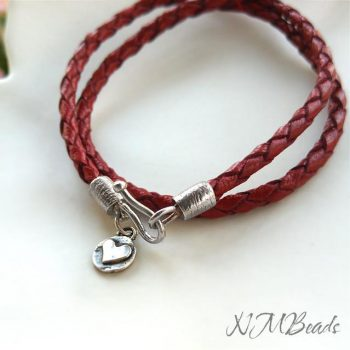 Double Wrap Red Leather Bracelet With Sterling Silver Hook And Heart