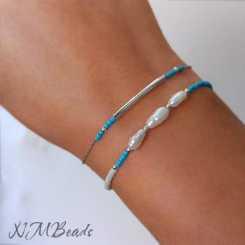 Set of 2 Delicate Beaded Bracelets