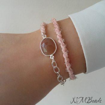 OOAK Peach Moonstone Double Wrap Bracelet With Silk Cord