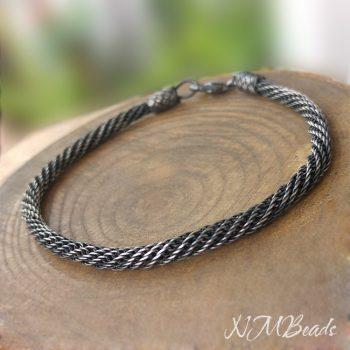 Mens Spiral Rope Chain Bracelet Oxidized Fine Silver OOAK