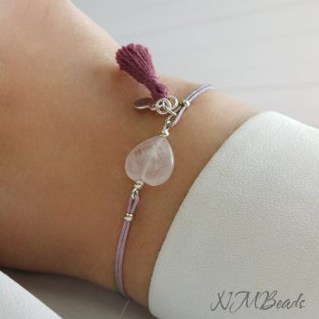 Rose Quartz Heart Simple String Bracelet With Tassel