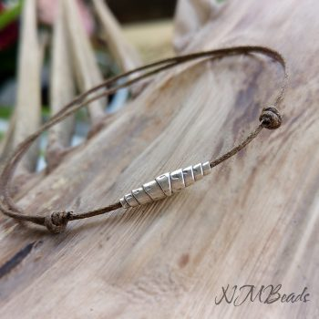 Boho String Mens Bracelet With Fine Silver Thai Bead