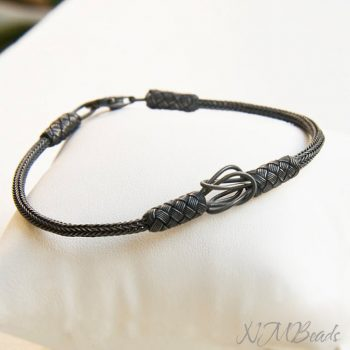 OOAK Mens Woven Chain Braided Bracelet Oxidized Fine Silver