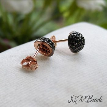 Black CZ Pave Setting Half Ball Stud Earrings Rose Gold Sterling Silver