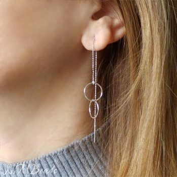 Delicate Double Circle Long Threader Earrings Sterling Silver Ball Chain