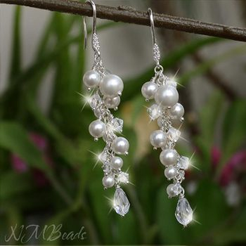 Wedding Pearls And Swarovski Crystals Cluster Earrings Sterling Silver