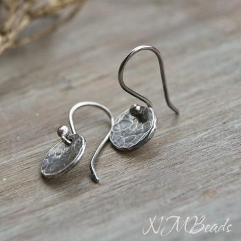 Full Moon Hammered Disc Earrings Sterling Silver Rustic Boho Organic