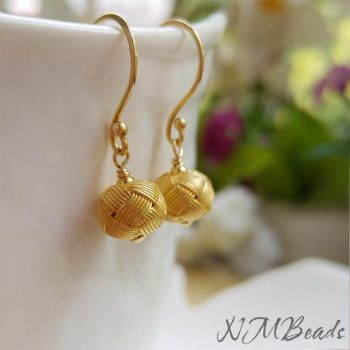Dainty Gold Ball Dangle Earrings Gold Vermeil Authentic Vintage Style