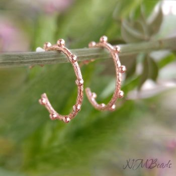 Dotted Hoop Earrings Sterling Silver Rose Gold Textured Dots Open Circle