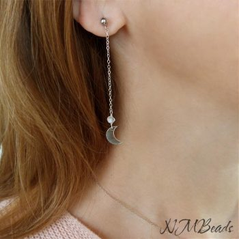Delicate Crescent Moon Long Chain Earrings With Moonstone Sterling Silver Ball Stud