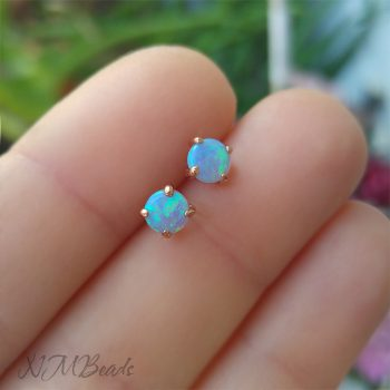 Rose Gold Blue Fire Opal Stud Earrings Sterling Silver