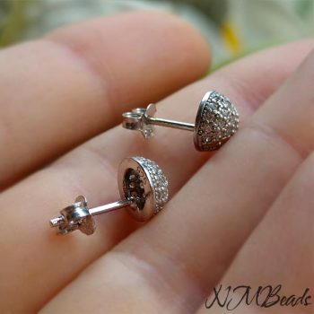 CZ Pave Setting Half Ball Stud Earrings Sterling Silver Or Rose Gold