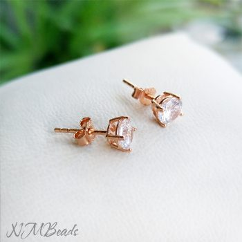 Rose Gold Prong Setting Round CZ Stud Earrings Sterling Silver