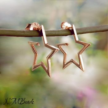 Open Star Hoop Earrings Sterling Silver Rose Gold Modern Minimalist
