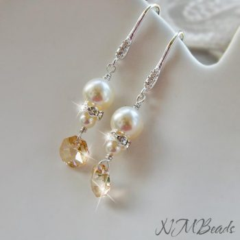 Swarovski Pearl Dangle CZ Earrings Sterling Silver Golden Champagne Swarovski Crystal
