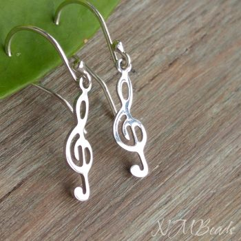Simple Treble Clef Dangle Earrings Sterling Silver Minimalist Music Note Girls Jewelry