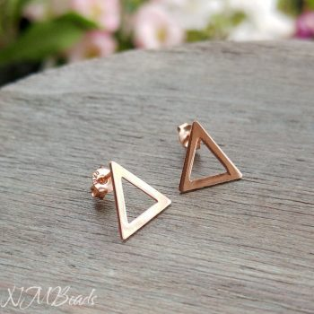 Delicate Triangle Stud Earrings Rose Gold or Silver Tone Sterling Silver