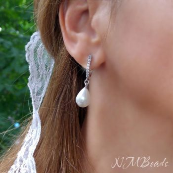 Pearl Earrings With Sterling Silver Cz Pave Leverback Earwires Romantic Wedding