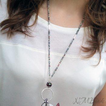 Beaded Crystal Eyeglasses Holder Circle Necklace Elegant Sterling Silver
