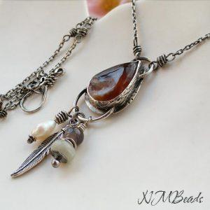 Boho Agate Druzy Pendant Fringe Necklace