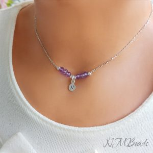 Girls Amethyst Bar Necklace With Tiny Initial Coin Sterling Silver