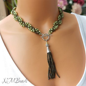 OOAK Green Pearl Y Drop Beaded Choker Necklace With Tassel Sterling Silver
