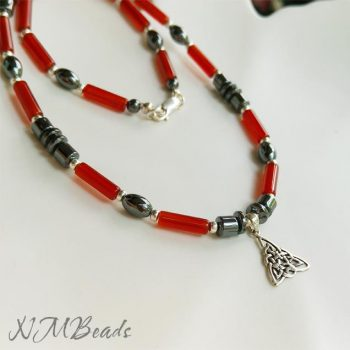 Mens Red Agate Hematite Choker Beaded Necklace With Trinity Celtic Knot Sterling Silver
