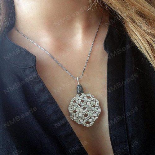 Celtic Sun Knot Pendant Necklace OOAK Fine Silver