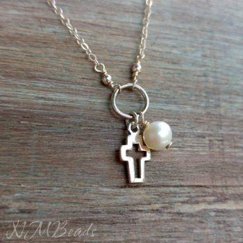 Girls Pearl And Cross Necklace Sterling Silver