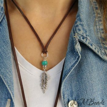 Boho Feather Necklace With Turquoise Brown Deerskin Leather Sterling Silver